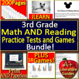 3rd Grade ILEARN Test Prep Reading and Math Practice and Game Show Bundle!