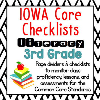 3rd Grade IOWA Core Literacy Checklists: Proficiency, Lessons, Assessments