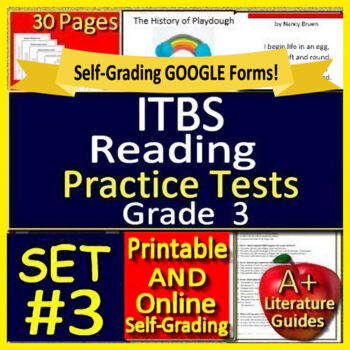 3rd Grade Itbs Test Prep Ela Practice Tests Print And Self Grading Iowa Tests