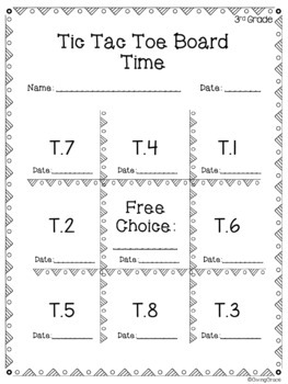 3rd Grade IXL Tic Tac Toe Choice Board