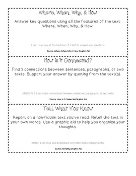 3rd Grade Informational Text Choice Board & Graphic Aids ~ Task Card Option