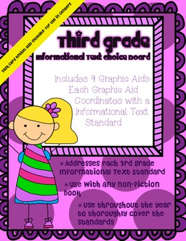 3rd Grade Informational Text Choice Board & Graphic Aids ~