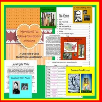 3rd Grade Informational Text/Non-Fiction Assessment SPED/ELD/Autism