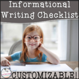 3rd Grade Informational Writing Checklist~ EDITABLE