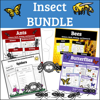 Insects Worksheets: Units on Butterflies, Bees, Ants, and Spiders
