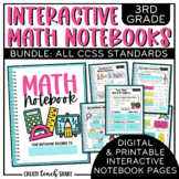 Math Interactive Notebook 3rd Grade BUNDLE Printable & Dig