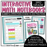 Math Interactive Notebook 3rd Grade Number and Operations in Base 10 & Fractions
