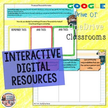 3rd Grade Internet Safety Digital Interactive Notebook