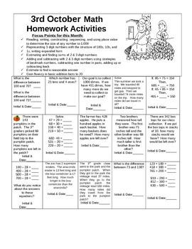 3rd Grade Investigations Homework October Calendar