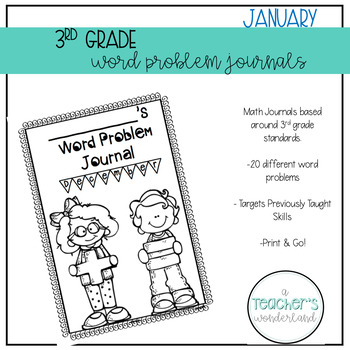 3rd Grade January Math Word Problem Journal