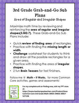 3rd Grade January Sub Plans for Math Area