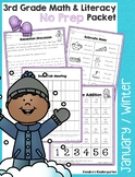 3rd Grade January / Winter Math and Literacy No Prep Common Core Packet