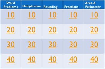 3rd Grade Jeopardy Math #1