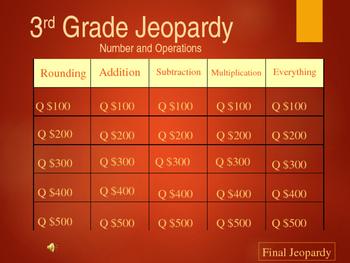 3rd Grade Jeopardy Review - Number and Operations