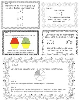 3rd Grade Journal Prompts - 3.NF.A.3