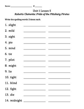3rd Grade Journey's Reading Unit 1 Lesson 5: Spelling 2x's Each