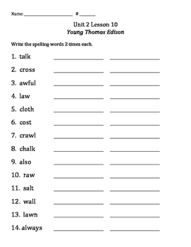 3rd Grade Journey's Reading Unit 2 Lesson 10: Spelling 2x's Each