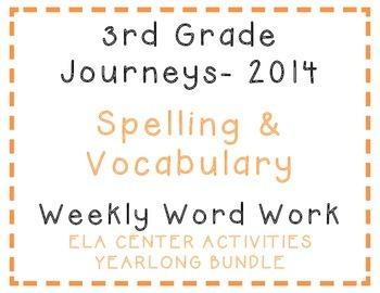 3rd Grade Journeys 2014 Spelling Vocabulary Center Activit