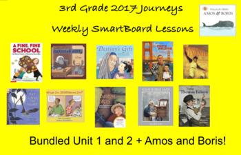 3rd Grade Journeys 2017 Unit 1 and 2 Smartboard Lessons Bundle