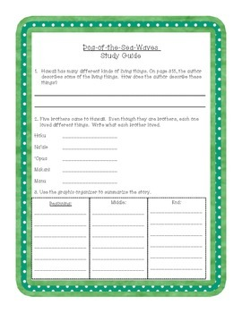 """3rd Grade Journeys """"Dog-of-the-Sea-Waves"""" Study Guide"""