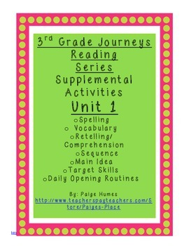 3rd Grade Journeys Reading Series Supplemental Activity Pack Unit 1
