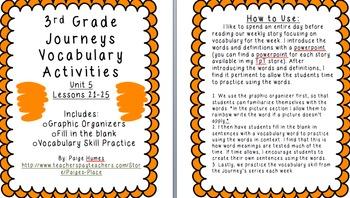 3rd Grade Journeys Reading Series Vocabulary Activities BUNDLE Units 1-6