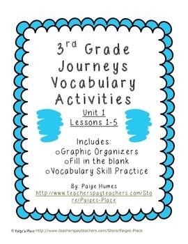 3rd Grade Journeys Reading Series Vocabulary Activities Unit 1