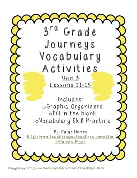 3rd Grade Journeys Reading Series Vocabulary Activities Unit 3