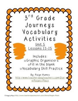 3rd Grade Journeys Reading Series Vocabulary Activities Unit 5