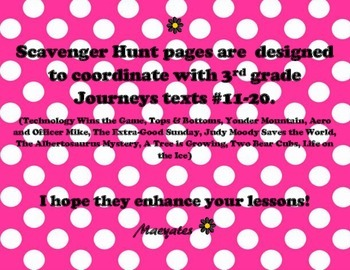 3rd Grade Journeys Scavenger Hunts Unit 3 and 4 - Texts 11 through 20