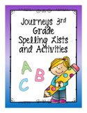 3rd Grade Journeys Spelling Lists and Activities