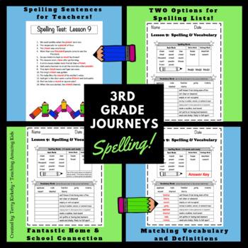 Journeys 3rd Grade:  Spelling & Vocabulary Lists