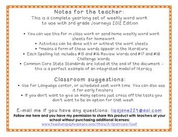 3rd Grade Journeys Spelling Vocabulary Center Activities Bundle Free Sample