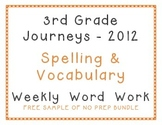 3rd Grade 2012 Journeys Spelling Vocabulary Center Activities Bundle Free Sample