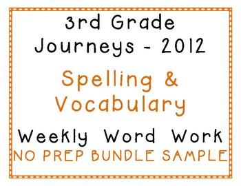3rd Grade Journeys 2012 Spelling Vocabulary Center Activities Yearlong Bundle