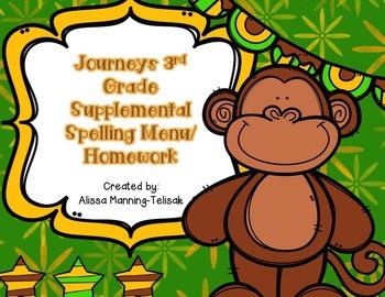 3rd Grade Journeys Supplemental Spelling Menu/Homework