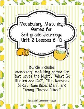 3rd Grade Journeys: Unit 2 Lessons 6-10 Vocabulary Match Game Bundle