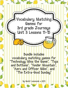 3rd Grade Journeys: Unit 3 Lessons 11-15 Vocabulary Match Game Bundle