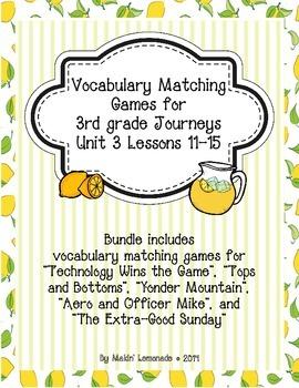 3rd Grade Journeys: Unit 3 Lessons 11-15 Vocabulary Match