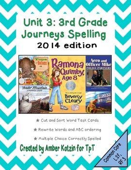3rd Grade Journeys: Unit 3 Spelling Bundle