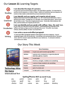 3rd Grade Journeys Unit 3 Weekly Newsletters