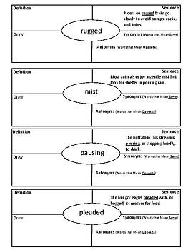3rd Grade Journeys Vocabulary 4-Square Lesson 13