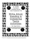 3rd Grade Journey's Write About Reading & Comparing Texts Activities Unit 1