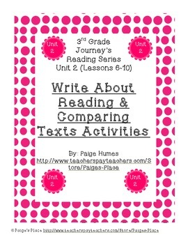3rd Grade Journey's Write About Reading & Comparing Texts Activities Unit 2