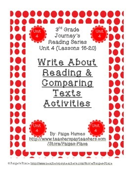 3rd Grade Journey's Write About Reading & Comparing Texts