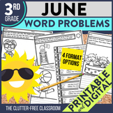 3rd Grade June Word Problems printable and digital math ac