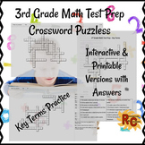 3rd Grade Key Math Terms Crosswords Summative Assessment