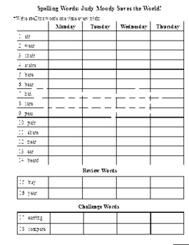 3rd Grade: L-16 Judy Moody... Journeys Common Core Spelling Worksheet