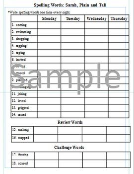 3rd Grade: L-21 Sarah, Plain and Tall Journeys Common Core Spelling Worksheet