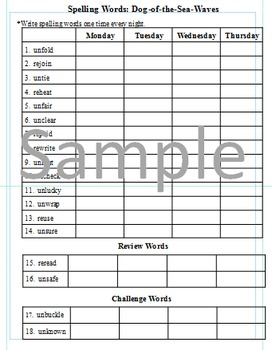 3rd Grade: L-24 Dog-of-the-Sea-Waves Journeys Common Core Spelling Worksheet